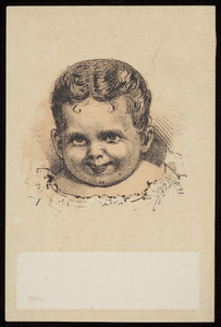 Trade card, drawing of boy toddler, location unknown, undated