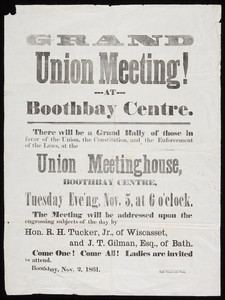 "Broadside for the ""Grand Union Meeting!"""