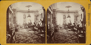 Interior view, possibly of the home of Rev. Robert Cassie Waterston and Anna Lowell Cabot Quincy Waterston at 71 Chester Square, Boston, Mass.
