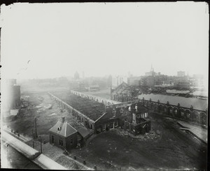 Demolition of the Boston and Providence Railroad Station, Park Square, Boston, Mass., undated