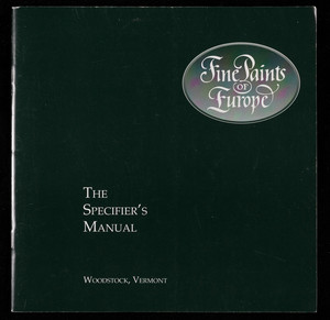 Specifier's manual, Fine Paints of Europe, P.O. Box 419, Woodstock, Vermont