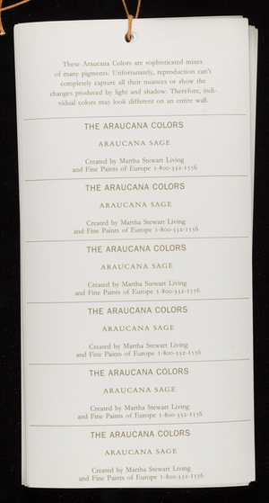 Araucana colors, created by Martha Stewart Living and Fine Paints of Europe, New York, New York and Woodstock, Vermont