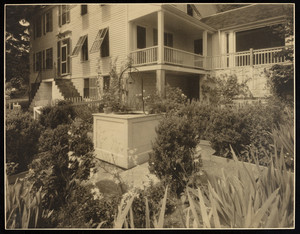 Exterior view of home with garden, Dorothy Ellis house, Haddam, Conn.