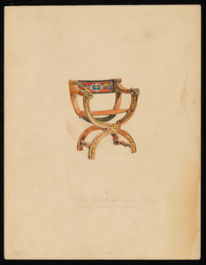 """""""Arm Chair with Color & Gold, Back of Colored Leather"""""""