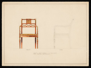 """Adam Arm Chair of Mahogany with Painted Decoration"""