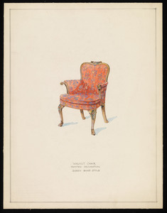 """""""Walnut Chair, Painted Decoration, Queen Anne Style"""""""