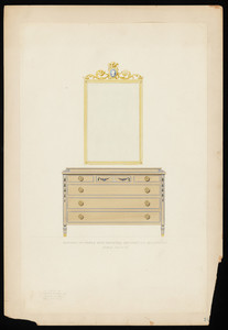 """""""Bureau of Maple with Painted Decoration. Gold Mirror.1999"""""""