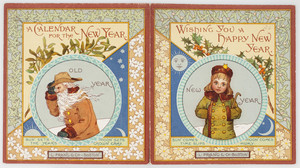 New Year's card, depicting the old year as a white-bearded man and the new year as a young boy