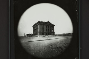 Exterior view of the Museum of Natural History and Rogers Building construction site, Berkeley Street, Boston, Mass., 1864