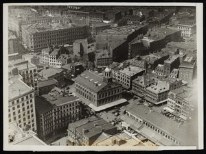Aerial view of Fanueil Hall and Dock Square, Boston, Mass.