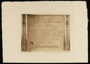 Dedication plaque, Faneuil Hall, Boston, Mass.