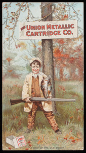 Trade card for the Union Metallic Cartridge Co., ammunition, Bridgeport, Connecticut, 1900
