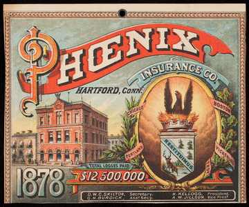 Trade card for the Phoenix Insurance Co., Hartford, Connecticut, 1878