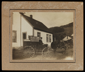 Peddler in his wagon, location unknown, ca. 1900