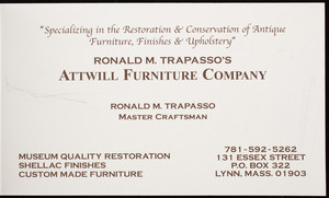 Business card for Attwill Furniture Company, antiques, 131 Essex Street, P.O. Box 322, Lynn, Mass., undated