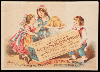 Trade card for Horsford's Self-Raising Bread Preparation, manufactured by the Rumford Chemical Works, Providence, Rhode Island, undated