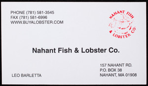 Business card for the Nahant Fish & Lobster Co., 157 Nahant Road, P.O. Box 38, Nahant, Mass., undated