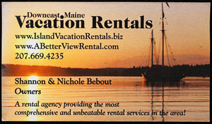 Business card for Downeast Maine Vacation Rentals, 276 Union Street, Blue Hill, Maine, undated
