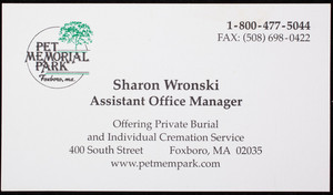 Business card for Pet Memorial Park, 400 South Street, Foxboro, Mass., undated