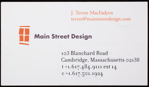 Business card for Main Street Design, interpretive exhibition design, 103 Blanchard Road, Cambridge, Mass., undated