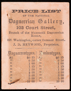Price list of the National Daguerrian Gallery, 103 Court Street, Boston, Mass., undated