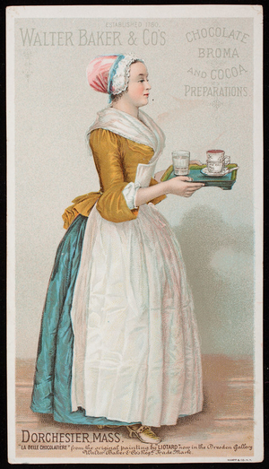 Trade card for Walter Baker & Co's. chocolate, broma and cocoa preparations, Dorchester, Mass., undated