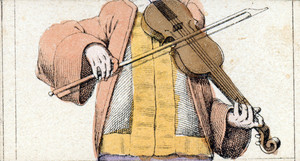 Mix and match game cards: male torso with violin