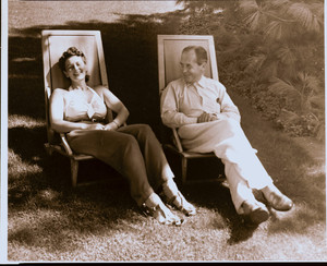 Portrait of Ise and Walter Gropius, seated, facing front, Lincoln, Mass., undated