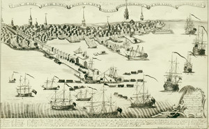 View of part of the town in Boston and New England and British ships of war landing their troops 1768, engraved, printed and sold by Paul Revere, Boston