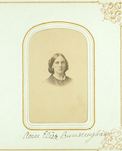 Lane Family photograph album, portraits of James A. Cunningham and Ann Eliza Lane Cunningham, location unknown, undated