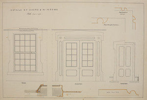 Detail of doors and windows of unidentified house, location unknown, undated