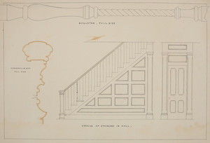 Details of staircase in hall of unidentified house, location unknown, undated