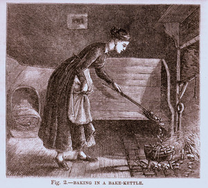 Baking in a bake kettle, as published in The American agriculturalist, New York, New York, June 1873