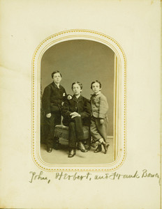 Group studio portrait of John, Herbert, and Frank Bowen, location unknown