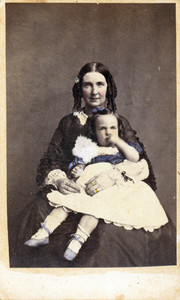 Studio portrait of Lucy Maria Tappan Bowen holding Franklin Davis Bowen, location unknown