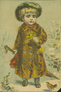 Child standing holding an umbrella, location unknown, undated