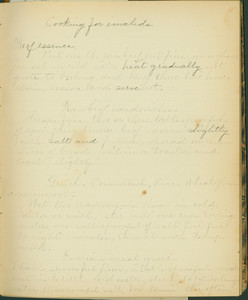 """Cooking for invalids page from the """"Literary recipe book"""" of Amelia Bradley Little, 1882"""