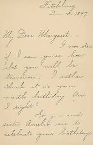 Letter from Aunt Elizabeth to Margaret A. Little, Fitchburg, Mass., dated December 13, 1897