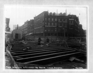 Steelwork in Haymarket Square, sec.10, looking southerly, Boston, Mass.