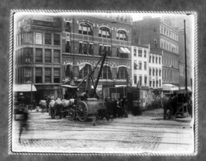 Work in Court Street, sec.7, looking easterly from Pemberton Square, Boston, Mass.