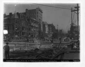Constructing sec.4 at corner of Dartmouth and Boylston Sts. looking easterly