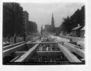 Boylston Street,constructing the incline, looking westerly, sec. 5, Boston, Mass., June 13, 1914