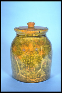 Redware Food storage Jar with Cover