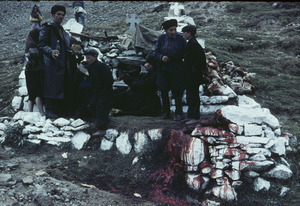 Men at the place of sheep sacrifice