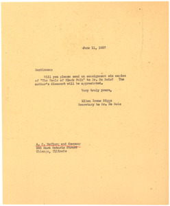 Letter from Ellen Irene Diggs to A. C. McClurg & Co.