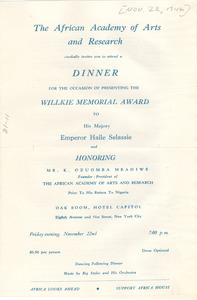 African Academy of Arts and Research Dinner program