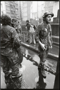 Vietnam Veterans Against the War demonstration 'Search and destroy': veteran (possibly W.B. Mabrin) leading march