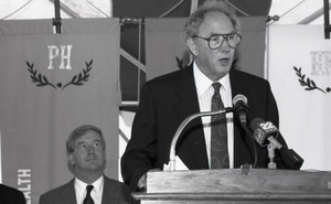 Ceremonial groundbreaking for the Conte Center: Provost Richard O'Brien at the podium (Gov. William Weld seated in the background)