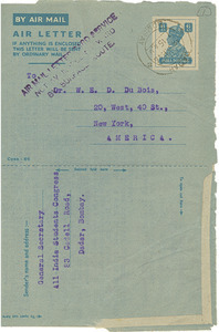 Air letter from All India Students Congress to W. E. B. Du Bois