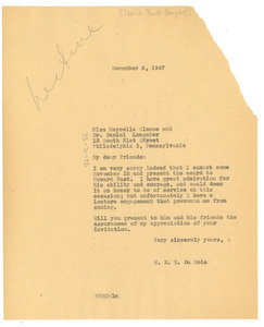 Letter from W. E. B. Du Bois to Jewish Youth Banquet
